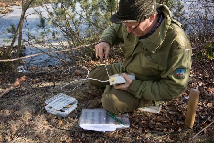 Det er mye utstyr som skal på plass for å registrere vandrende salamandere. I år gikk heldigvis montering og testing etter planen. (Foto: Børre K. Dervo ©)