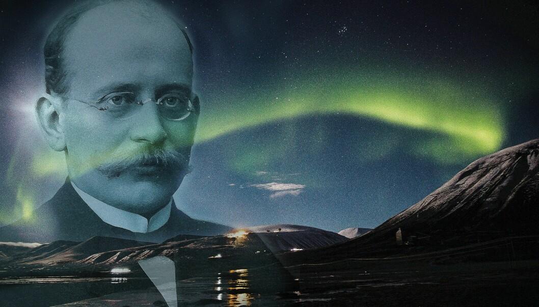 En av de mange oppfinnelsene til nordlysforskeren professor Kristian Birkeland (1867 - 1917) la grunnlaget for Norsk Hydro. (Illustrasjon Hanne Utigard. Nordlysfoto: Yngve Vogt. Birkelandbildet: Ludvig Forbech-MUV /UiO)