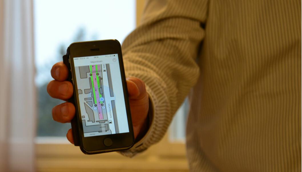 En ny app skal hjelpe blinde og svaksynte å finne fram i for eksempel T-banestasjoner og flyplasser.  (Foto: Lisbet Jære)