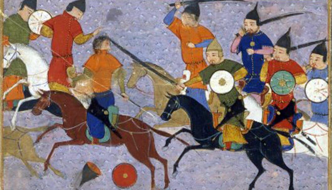 Mongolene sloss mot kinesere i slaget ved Yehuling i 1211. Bildet er fra en historisk arabisk tekst.  (Bilde: Sayf al-Vâhidî. Hérât)