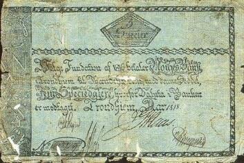 5 speciedaler utgitt av Norges Bank i Trondheim i 1818.