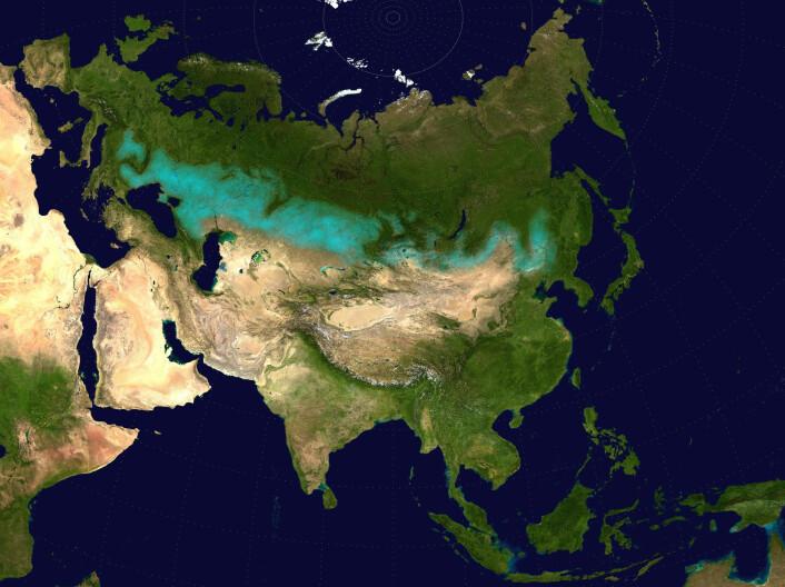 Det blå feltet viser de enorme steppene som strekker seg fra Europa og gjennom nesten hele Asia. (Foto: (Bilde: Offentlig eiendom))