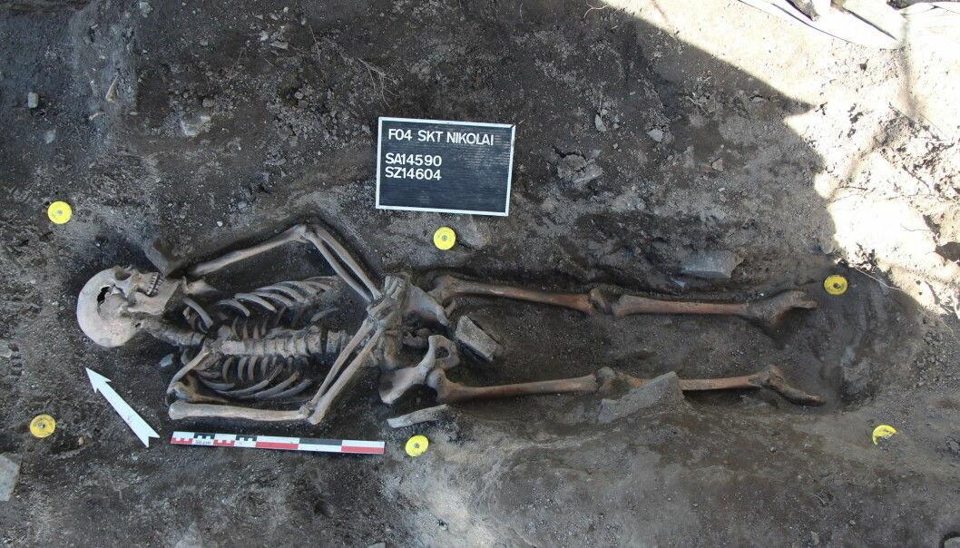 Skjelettet med betegnelsen SZ14604 ble funnet da NIKU undersøkte spor etter Oslos gamle middelalderby i traseen for den kommende Follobanen gjennom Gamlebyen. CEES-forskerne fant DNA-rester etter pestbakterien i tannrøttene. (Foto: NIKU)