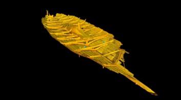 Laserskann av Tuneskipet viser hvordan originalen ser ut i dag og var grunnlaget for rekonstruksjon av Tuneskipet. Skipet er dater til ca. år 900. (Foto: Illustrasjon ved Knut Paasche/NIKU.)
