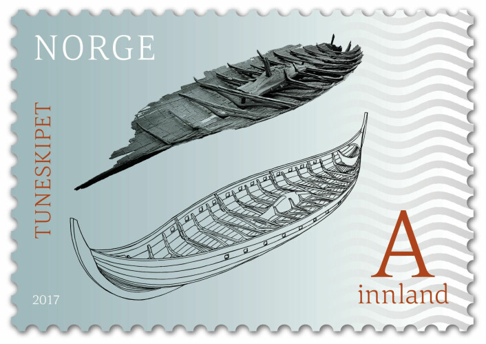 Knut Paasche sin reksonstruksjon av Tuneskipet pryder nå 13 millioner frimerker. (Foto: © Atle Jarto Johnsen.)
