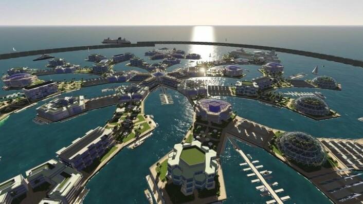 Slik kan hele samfunn bygges på sjøen. (Foto: (Illustrasjon: Seasteading Institute))