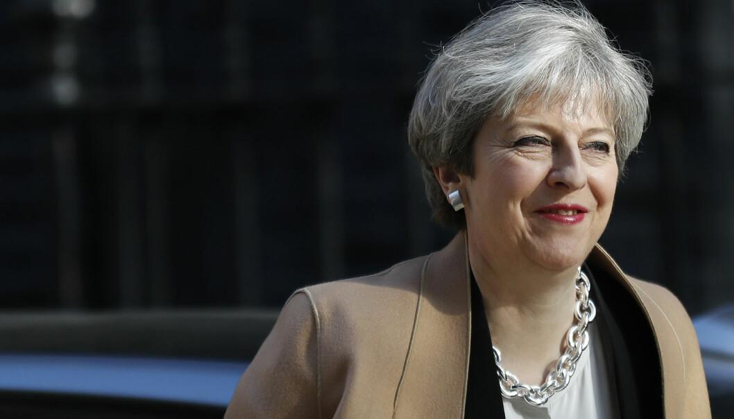– Så langt har May styrt med et svakt mandat. Folket har aldri valgt henne, men nå ønsker hun å få folkets støtte og bli en valgt statsminister, sier ekspert.  (Foto: Stefan Wermuth/Reuters/NTB Scanpix)