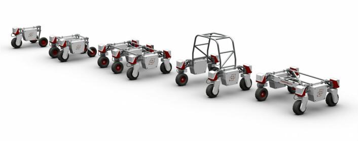 Ulike versjoner av landbruksroboten Thorvald. (Foto: NMBU)