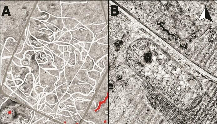 Spor etter soldater ved basene. Til høyre ser du rester etter en forball- og løpsbane ved en av de polske basene. (Bilde: Kiarszys/Antiquity 2019)