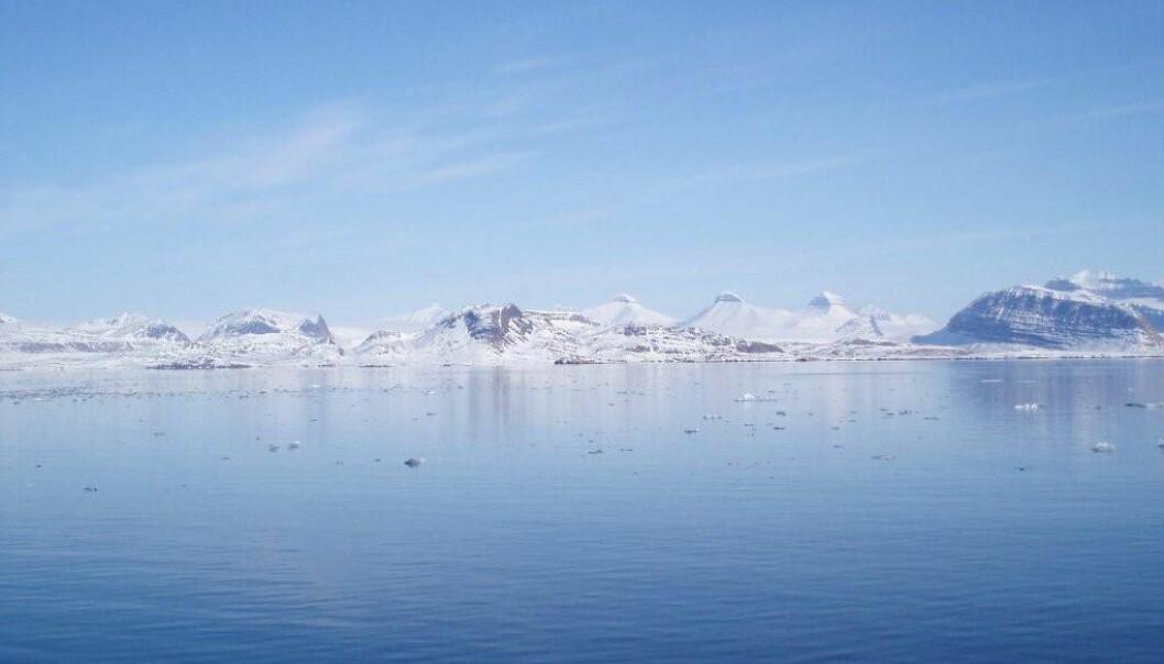 Bildet viser Kongsfjorden og fjelltoppene Tre kroner. Forskere har overvåket fjorden over lengre tid for å se hvordan havet har endret seg.  (Foto: Vigdis Tverberg)