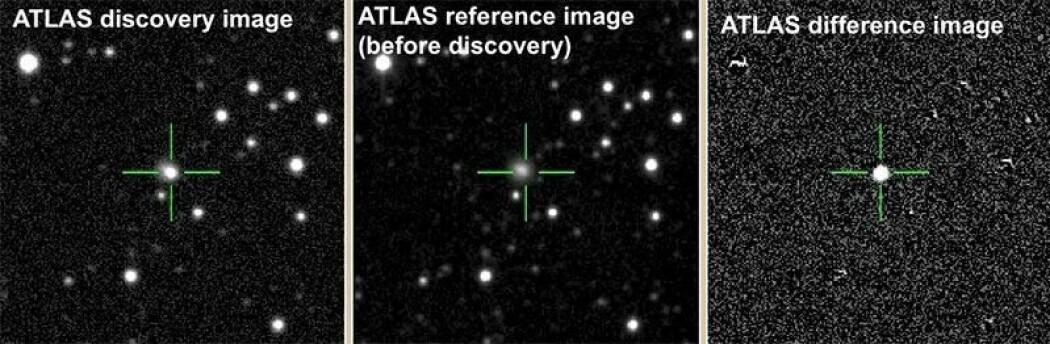 Den eksploderende stjernen er funnet i en galakse som heter CGCG 137-068. (Foto: The ATLAS team)