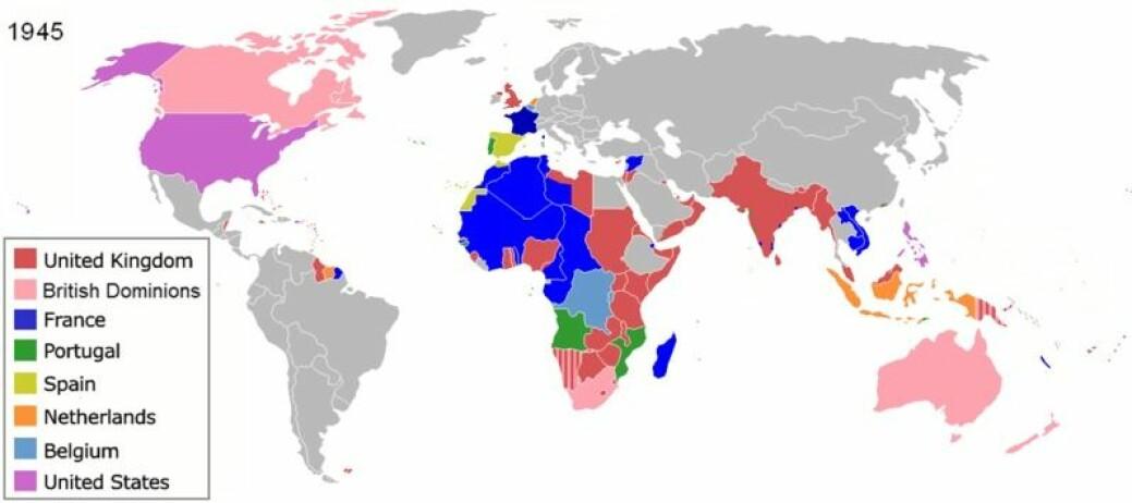 Verdens kolonier i 1945. (Foto: Wikipedia / Aris Katsaris)