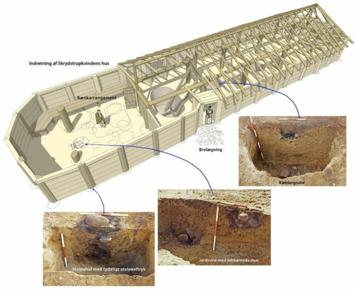 Her ser vi en rekonstruksjon av hvordan Skrydstrup-kvinnens imponerende hus kan ha vært innredet. (Foto: (Illustrasjon: Oldtidsglimt/Museum Sønderjylland))