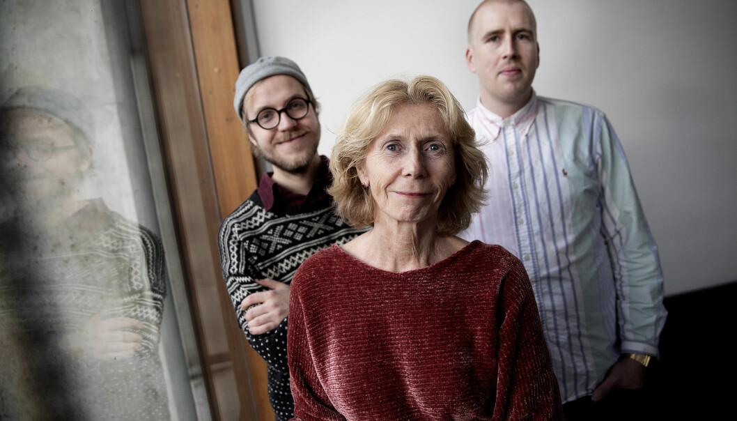 Peter Daatland (t.v.), Bodil Maroni Jensen og Einar Stray lager NMHs nye podkaster <i>Lyden av</i>, som ville komme ut med en ukes mellomrom. (Foto: Paal Audestad)