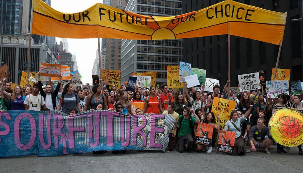 Bildet er frå ein marsj for klima i New York i 2014.  (Foto: Alejandro Alvarez)