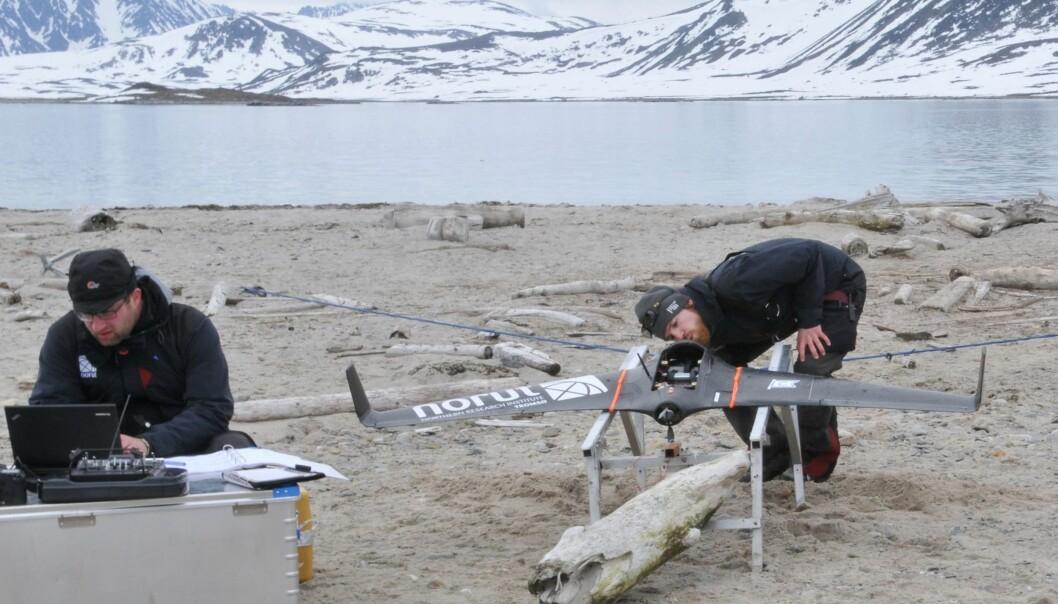 Norut-teamet klargjør dronen for take off. Dronen kan ta ekstremt detaljerte bilder, som gjør det mulig å overvåke selv små detaljer i landskapet.  (Foto: Elin Rose Myrvoll, NIKU)