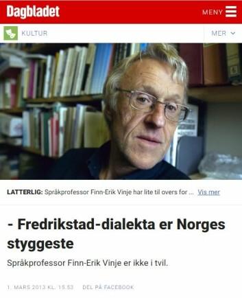 Finn-Erik Vinje kritiserte Fredrikstads Blad for å blande dialekt- og skriftspråk i 2013, da avisa ga ut en spesialutgave på dialekt. (Foto: (Faksimile fra dagbladet.no))