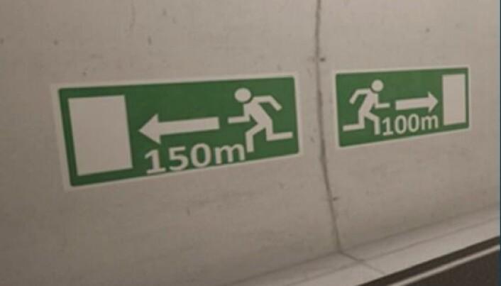 Skiltene som brukes i dagens tunneler oppfattes som forvirrende og vanskelig å forstå for mange. (Foto: Sintef)