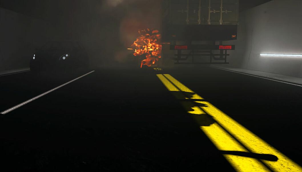 Forskere har undersøkt hvordan vi responderer på tre ulike sikkerhetstiltak under en brann i tunnel. Illustrasjonen er laget av SINTEF og er hentet fra VR-filmen som ble vist til forsøkspersonene i studien.