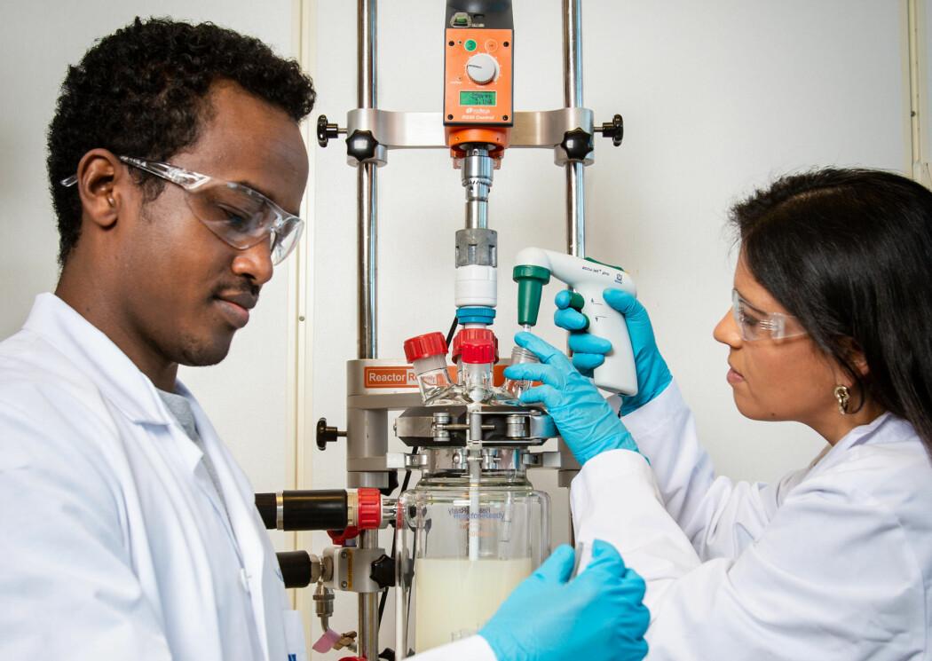 Sileshi Wubshet og Rita Lima foran utstyret som brukes for produksjon av peptider fra kyllingskrog. (Foto: Joe Urrutia, Nofima)