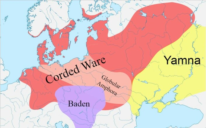 Kartet viser utbredningen til de snorkeramiske kulturene på det største. Det heter Corded Ware culture på engelsk. (Foto: (Bilde: Dbachmann/CC BY-SA 3.0))
