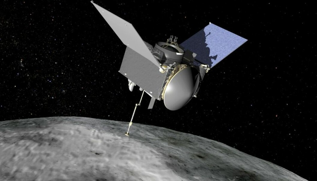 En kunstners illustrasjon av Osiris Rex-sonden, som skal skanne overflaten til asteroiden Bennu.  (Foto: NASA)
