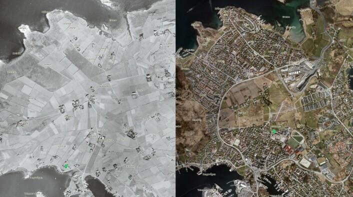 På Hundvåg I Stavanger har det meste av dyrka marka blitt bygget ned etter andre verdenskrig. Her ligger noe av den eldste kulturjorda i landet vårt. Flyfoto 1937 og 2015. (Foto: (Kart: NIBIO))