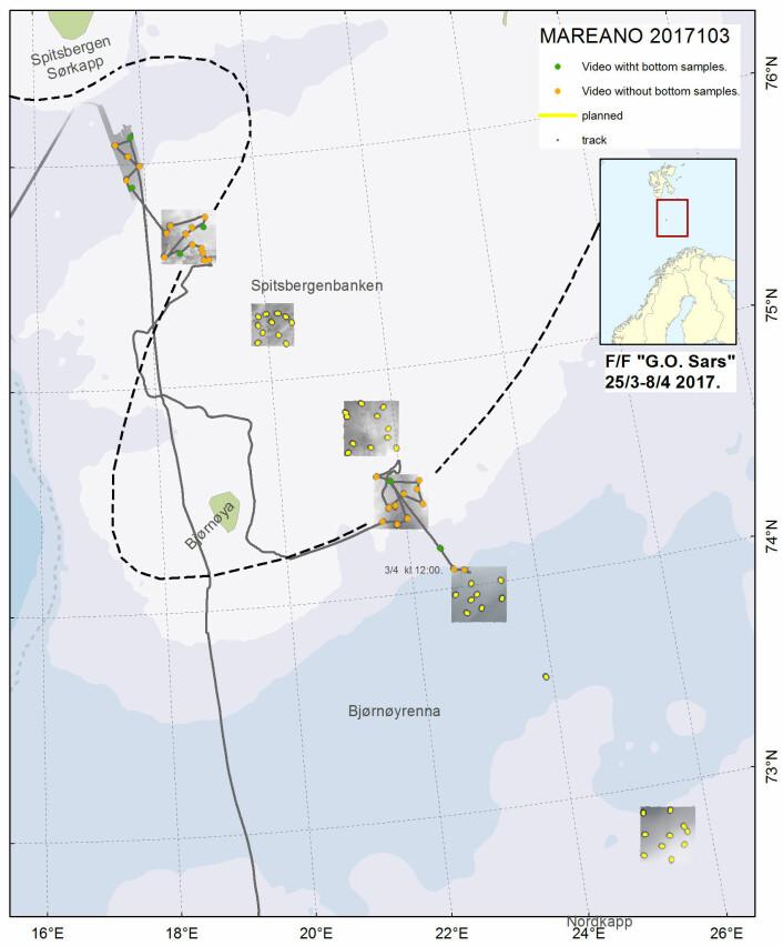 Området vi har undersøkt så langt ligger i Storfjordrenna, og sør og nord på Spitsbergenbanken. Polarfronten er tegnet med stiplet linje. Kurslinjen til G.O. Sars (den uregelmessige linjen) viser hvordan båten har fulgt iskanten rundt de to kartleggingsområdene midt på Spitsbergenbanken.
