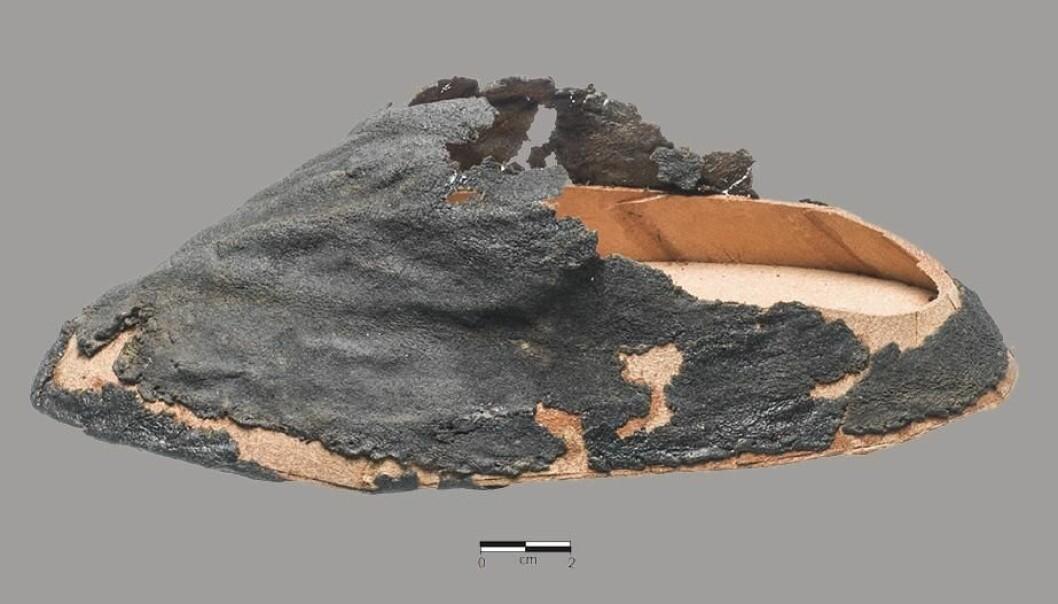 Her ser vi den fragmenterte strømpen av selskinn fra siden. Forskerne vet at det er en strømpe og ikke en sko fordi hårsiden vender innover. Hullet på stortåen indikerer at eieren har forsøkt å reparere den.  (Foto: Roberto Fortuna)