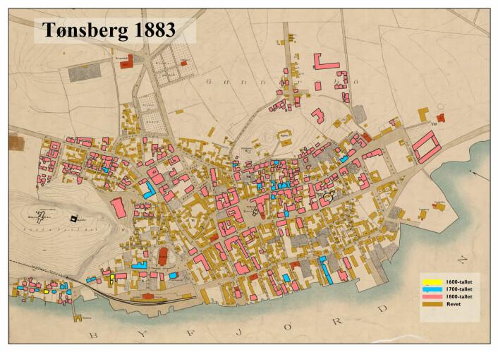 Kartgrunnlag: Kart over Tönsberg af N. S. Krum, 1883. Foto: NIKU