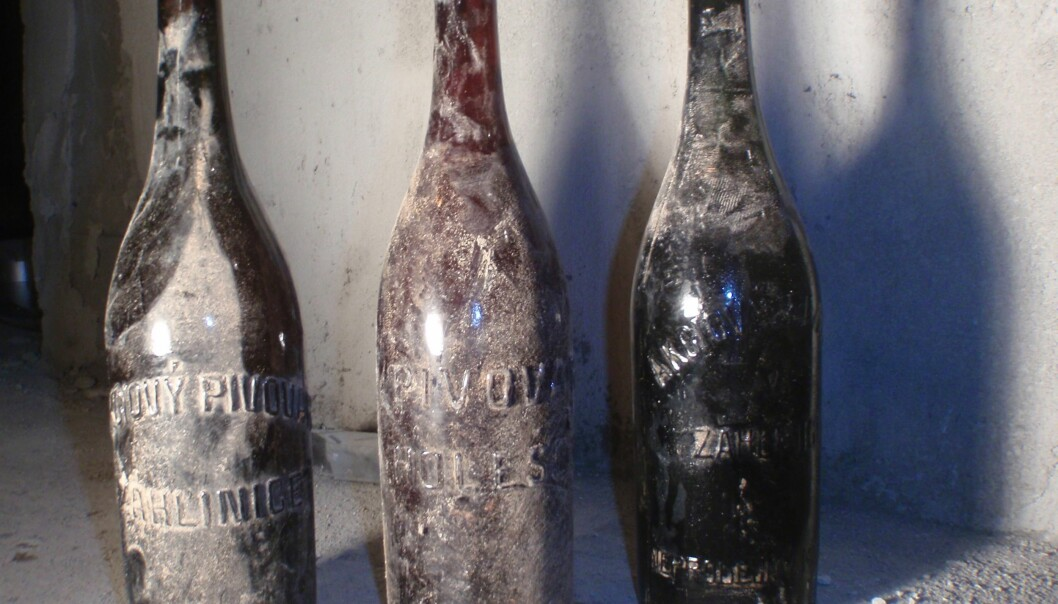 Funnstedet og flaskenes utseende fortalte forskerne at innholdet trolig ble tappet i tida rundt første verdenskrig.  (Foto: Brewing Institute, Praha)