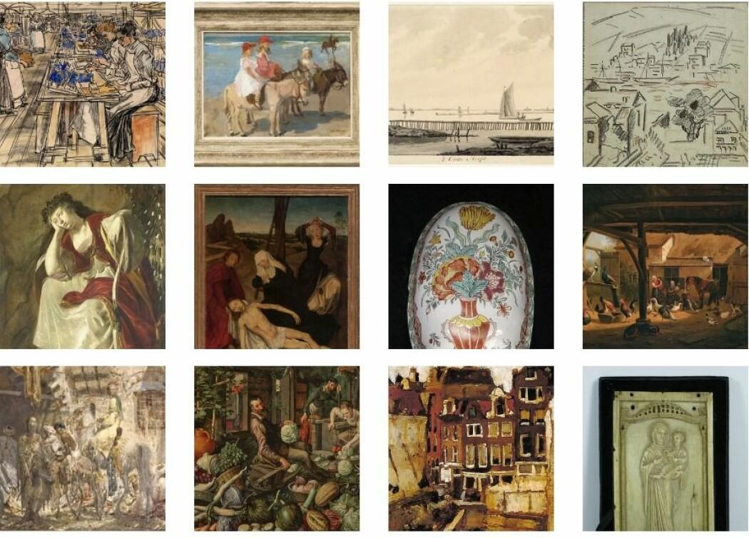 Disse kunstverkene kan ha blitt stjålet fra jødiske menn og kvinner under andre verdenskrig. Nå er åtte av dem sporet til sine rettmessige eiere, ved hjelp av et israelsk slektsgranskningsfirma. (Foto: Den Hollandske Museumsforening)