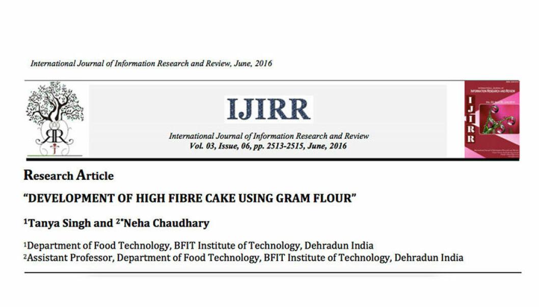 Kaker er godt, men kan en kakeoppskrift i et IT-tidsskrift passere som forskning? Utbredelsen av falsk vitenskap er bekymringsverdig, mener UiB-forsker.  (Illust. Skjermdump)