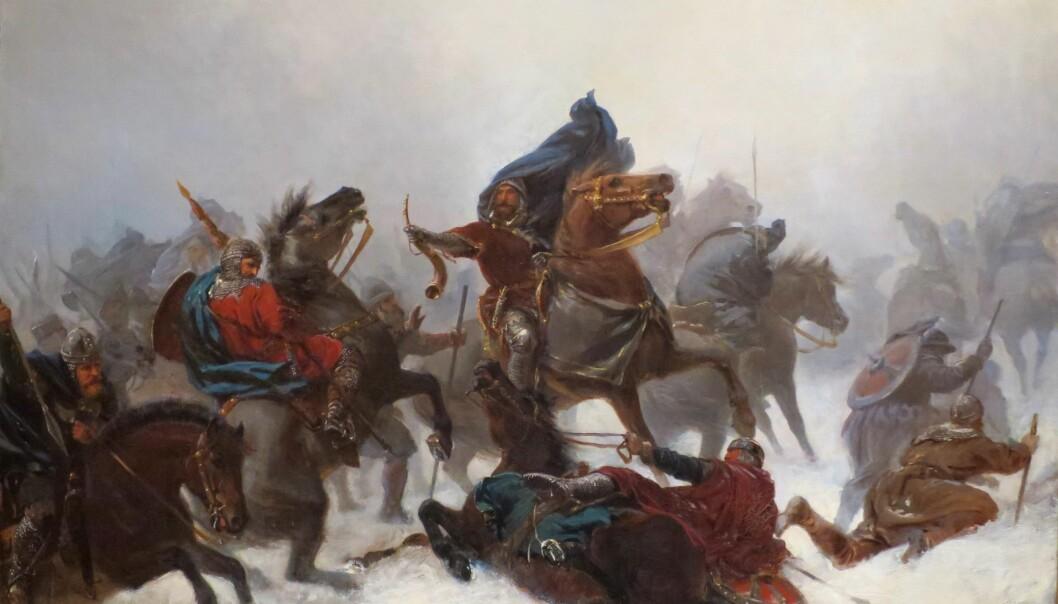 """""""Kong Sverres tog over Vossefjellene"""" av Peter Nicolai Arbo (1862). Sverre var konge i Norge fra 1184 til 1202. (Foto: Wikimedia Commons)"""