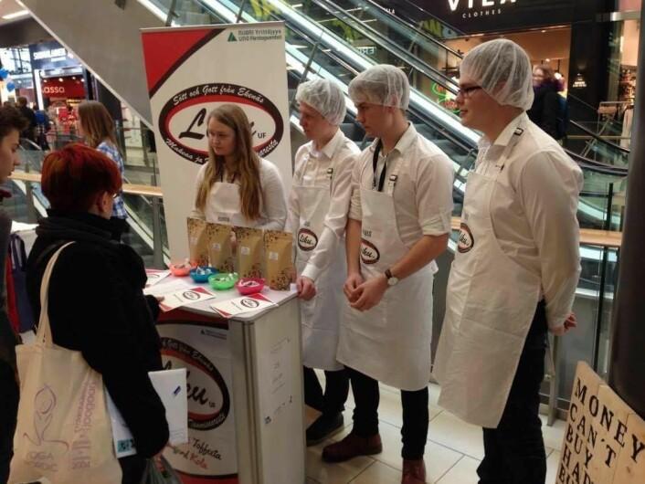 Elevene viser frem prosjektet sitt på en messe for ungdomsbedrifter i Finland . (Foto: Mona Stokke)