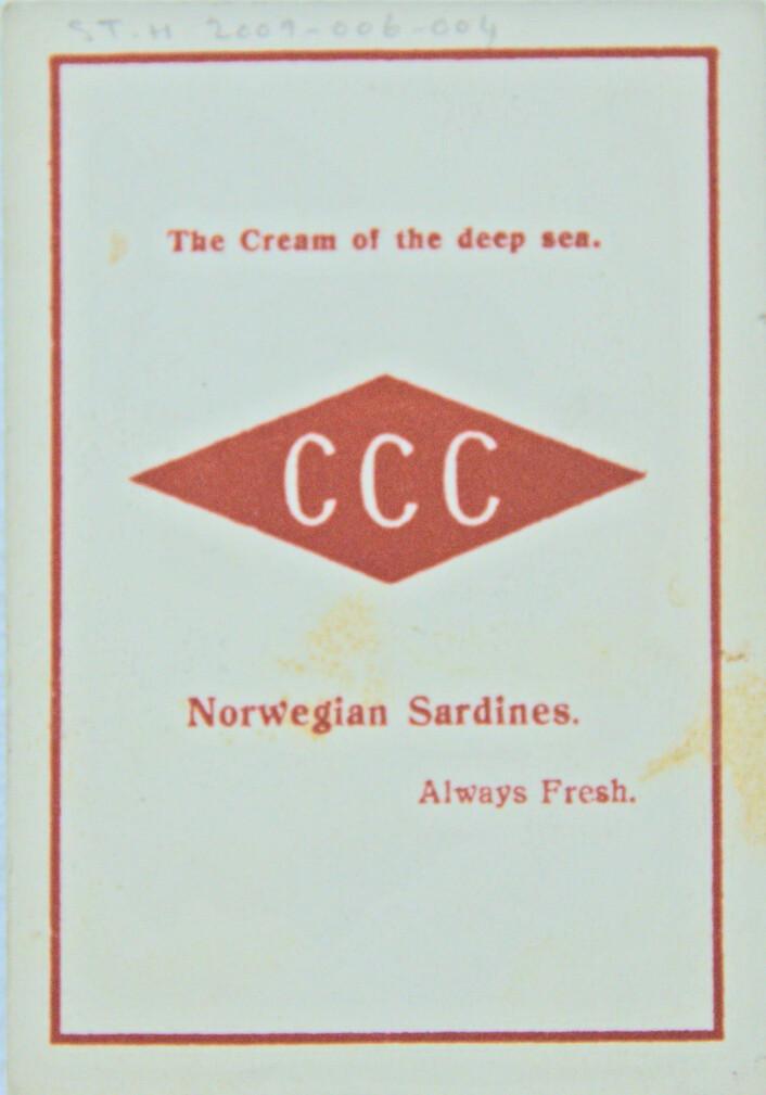 """""""The cream from the deep sea."""" Ett av flere slagord brukt av Concord Canning Co. Foto: MUST/ Norsk hermetikkmuseum"""