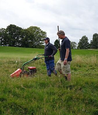 Det langvokste grasarealet på rough-området utkanten av spilleflaten kan få et større biologisk mangfold. Her forsker Trygve S. Aamlid og en medhjelper som slår kantarealet på golfbanen Bogstad i Oslo. (Foto: Jon Schärer).