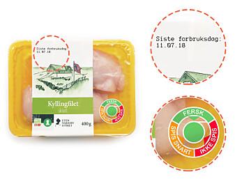 Forskerne testet et merke de utviklet selv, inspirert av merker som utvikles i utlandet. Sensormerkene som ble testet viste fargene rødt, gult eller grønt ut fra hvor trygg maten var å spise(Foto: SIFO)