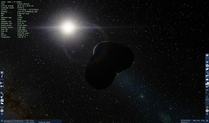 Halleys komet i all sin prakt. (Foto: (Bilde: Space Engine/Skjermdump))
