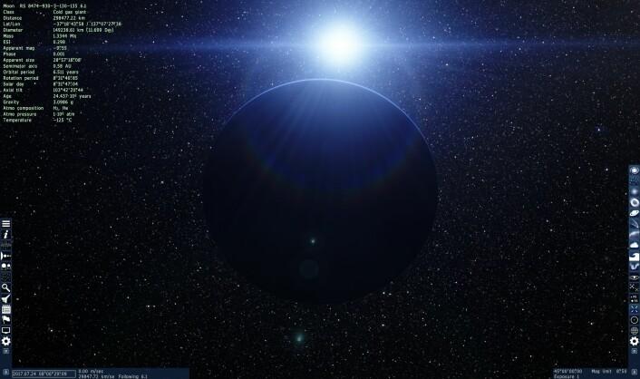 Gasskjempen jeg begynte ved, med stjernen bak. (Foto: (Bilde: Space Engine/Skjermdump))