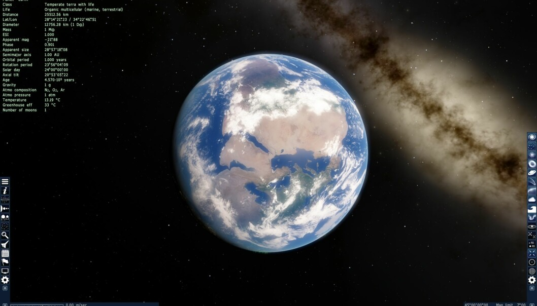 Du kan dra til hver eneste lysprikk du ser på dette bildet. (Bilde: Space Engine/Skjermdump)