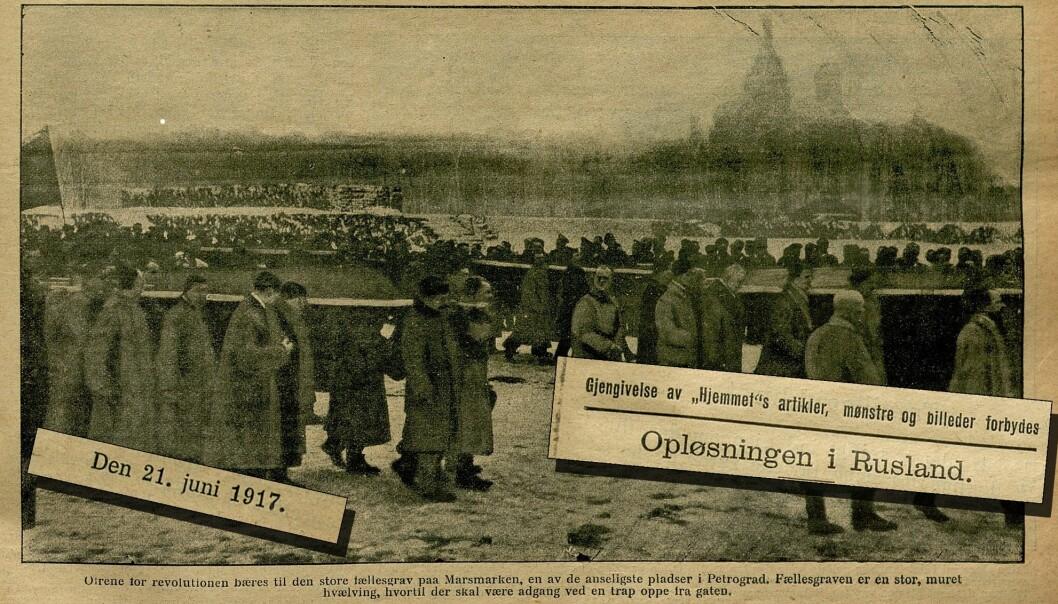 Ukebladet Hjemmet fortalte stadig sine lesere om revolusjonen i Russland. Faksimilen av forsiden den 21. juni 1917 viser ofre for revolusjonen som blir båret til en stor fellesgrav i St. Petersburg, som da het Petrograd. (Fotomontasje: Nasjonalbiblioteket/forskning.no)