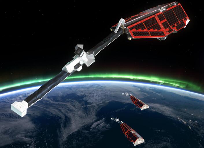 De europeiske forskningssatellittene Swarm undersøker jordas magnetfelt og indre. (Foto: ESA/AOES Medialab)
