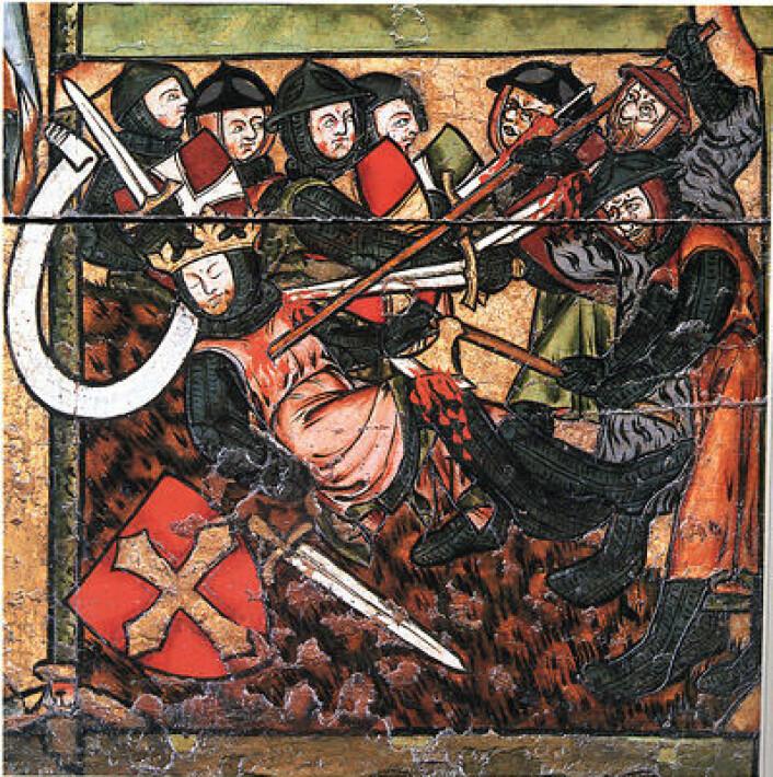 Vi kjenner ikke til hvordan Olav Engelbrektsson så ut, men dette er hans segl med portrett av Heilag Olav. (Foto: (Illustrasjon: Wikipedia, Norges kirker i middelalderen))