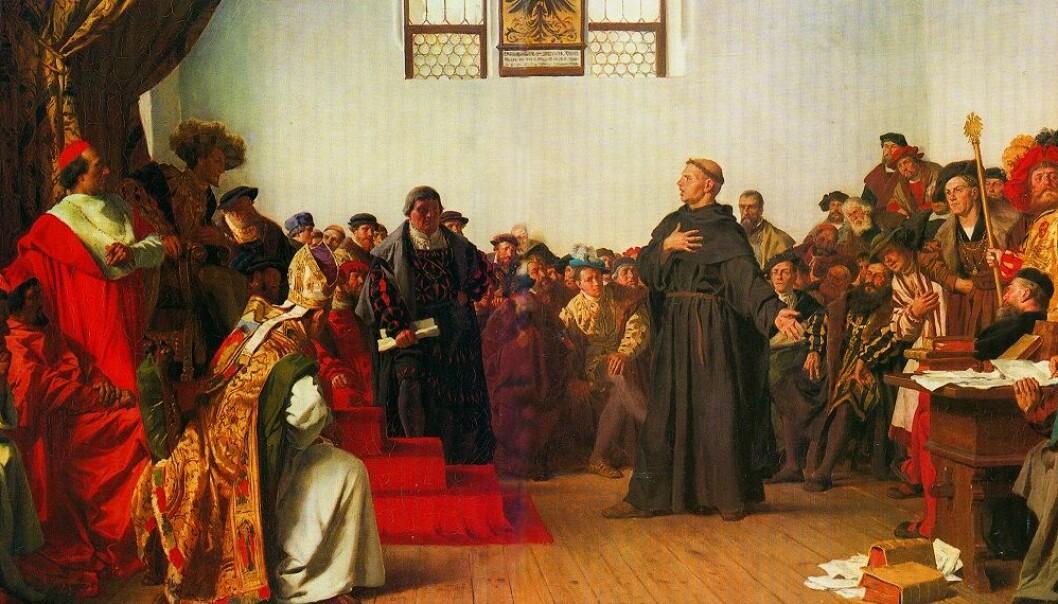 Martin Luther nekter å tilbakekalle sine skrifter i Worms 18. april 1521. Dagen etter erklærte keiseren ham for å være en kjetter. (Maleri: Anton von Werner)
