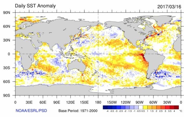 Veldig varmt i havoverflaten utenfor Peru nå. (Bilde: NOAA)