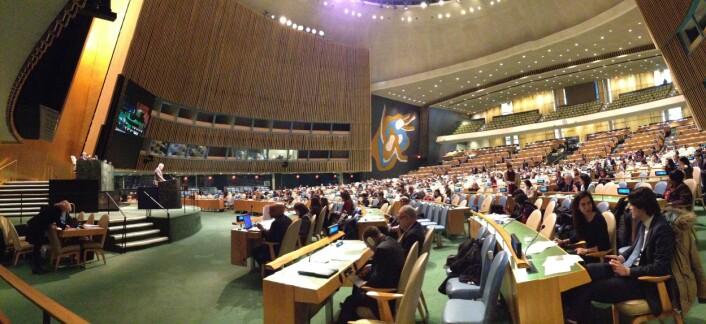 Generalforsamling i FN  ga 26 februar 2015 sin tilslutning til  en verdensomspennende satsning på geodesi. Det var ambassadør Peter Thomson fra Fiji som la fram resolusjons-forslaget. (Foto: Nova Vision)