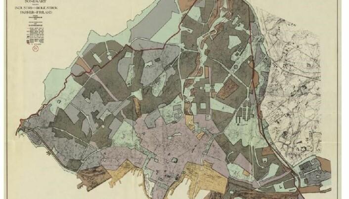Røhnes parkplan ble presentert i generalplan for Oslo tegnet av arkitekten Harald Hald i 1929, og godkjent av bystyret i 1934. (Foto: Historisk arkiv for norsk landskapsarkitektur)