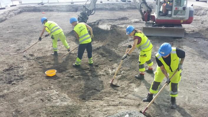 Arkeologer fra NIKU i arbeid på Torvet i Trondheim. Foto: NIKU