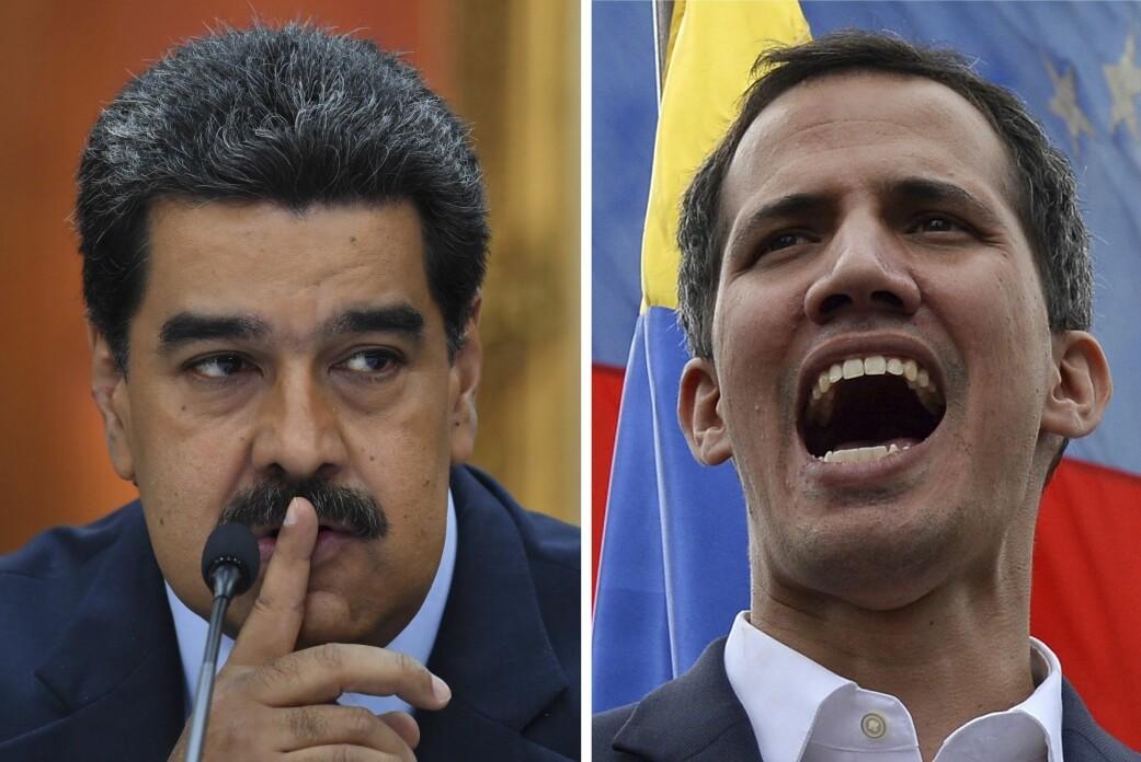 Opposisjonsleder Juan Guaidó (til høyre) prøver å bli kvitt president Nicolás Maduro (til venstre). (Foto: AFP/NTB scanpix)